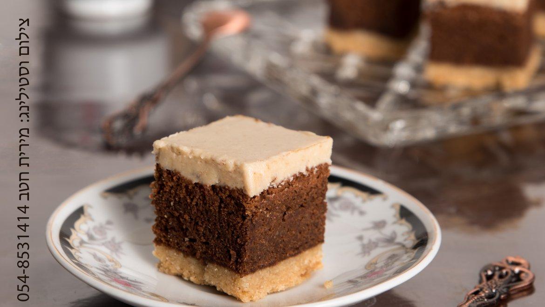 עוגת שכבות בצק פריך – שוקולד – וקרם חלבה לבן מבריק