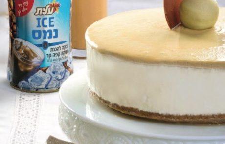 עוגת גבינה בציפוי גאנש שוקולד לבן וקפה והפתעות טראפלס קפה